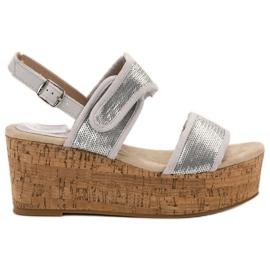 Kylie gris Sandales Avec Velcro