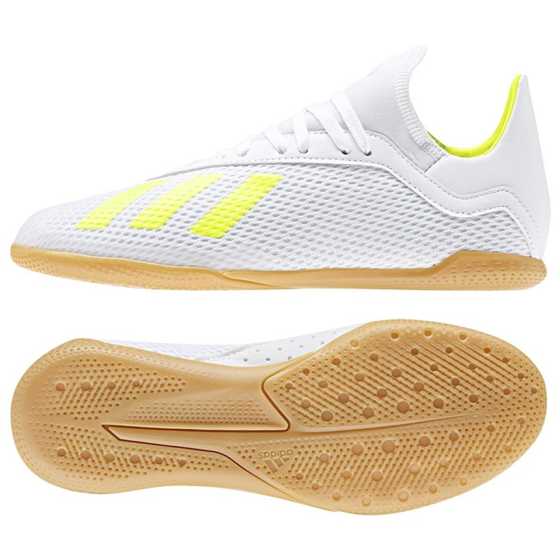 Chaussures Indoor adidas X 18.3 In Jr BB9397 blanc blanc, jaune