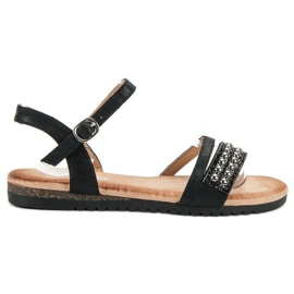 Groto Gogo noir Sandales avec brocart