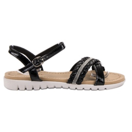 Groto Gogo noir Sandales Avec Cristaux