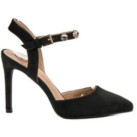 Kylie noir Stilettos avec un talon exposé