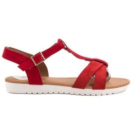 EXQUILY rouge Sandales en daim classiques