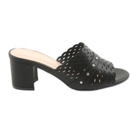 Pantoufles noires pour femmes Sergio Leone KL319