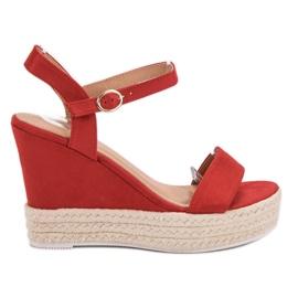 Ideal Shoes rouge Sandales élégantes sur compensées