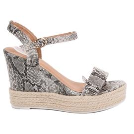 Ideal Shoes gris Sandales élégantes sur compensées