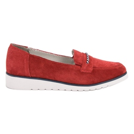 Filippo rouge Mocassins en cuir