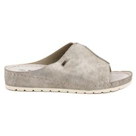 Goodin gris Pantoufles d'argent