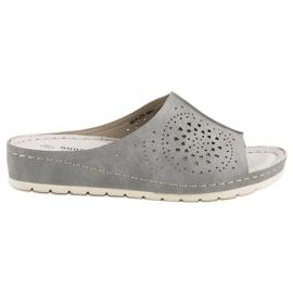 Goodin gris Pantoufles Ajourées