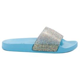 Bello Star bleu Pantoufles avec des cristaux
