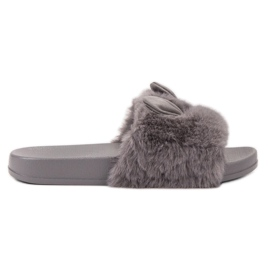 Vinceza Pantoufles grises avec fourrure