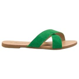 Primavera vert Pantoufles plates confortables
