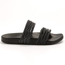 Bello Star noir Pantoufles Avec Perles