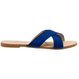 Primavera bleu Pantoufles plates confortables