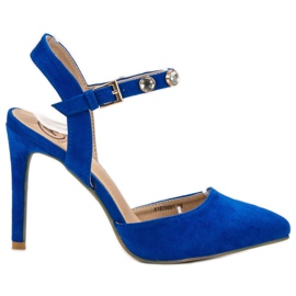 Kylie bleu Stilettos avec un talon exposé