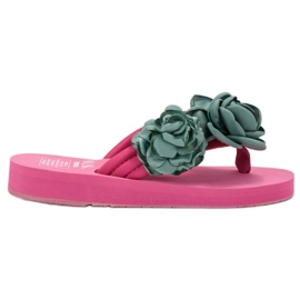 SHELOVET Tongs Légères Avec Des Fleurs rose