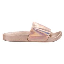 Small Swan Pantoufles à la mode en or rose