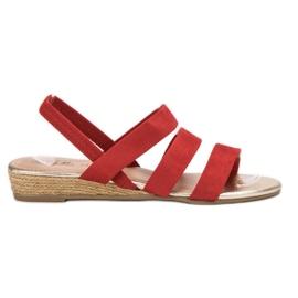 Fama rouge Sandales en daim avec bande élastique