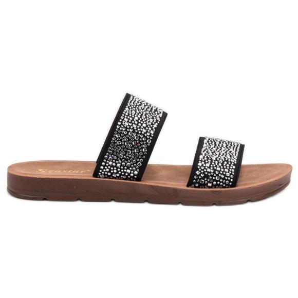 Seastar Pantoufles Avec Zircons noir