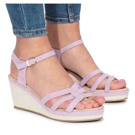 Sandales compensées violet Glavel pourpre