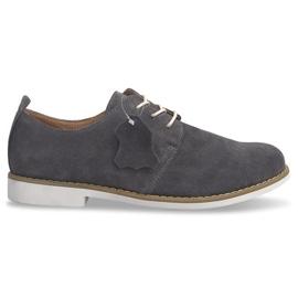 Chaussures en cuir à lacets LJ12 Gris
