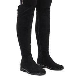Bottes en daim noires avec des crampons H305