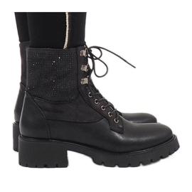 Ideal Shoes Bottines à lacets noires avec paillettes 1621
