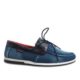 Marine Mocassins élégants bleu foncé chaussures AB108-1
