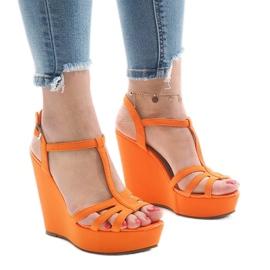 Sandales à talons compensés orange A-8A