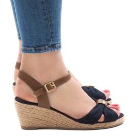 Sandales bleu foncé sur espadrilles compensées 1484-13