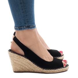 Sandales compensées noires 2894
