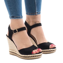 Sandales compensées en daim noires LM-8006