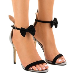 Sandales en daim grises avec talons et talons hauts JZ-6334