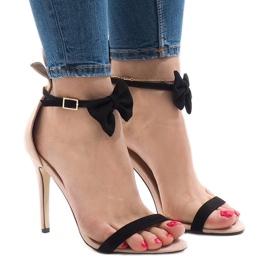 Sandales en daim rose à talons hauts avec nœud JZ-6334