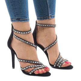 Sandales noires sur stiletto 9081-9