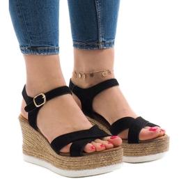 Sandales noires sur talon compensé XL104