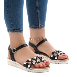 Sandales compensées noires avec un élastique 35-128