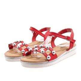 Sandales compensées rouges avec un élastique 35-128
