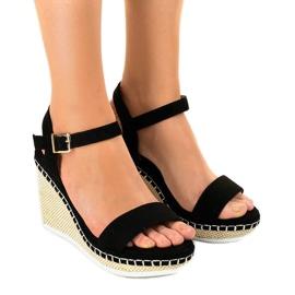 Sandales compensées noires U-6291