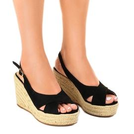 Sandales noires sur des semelles compensées, espadrilles 68-150