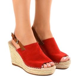 Sandales rouges compensées avec espadrilles KA-20