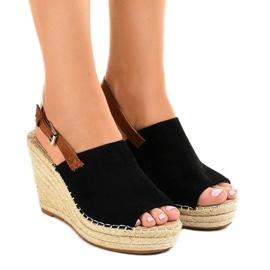 Sandales compensées espadrilles KA-20 noires