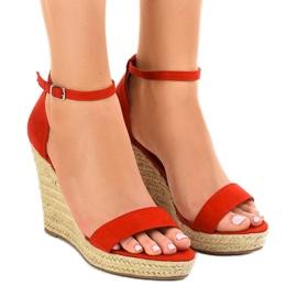 Sandales rouges sur espadrilles BD342 compensées