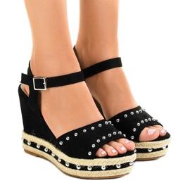 Sandales compensées noires perles 77-32