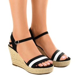 Sandales compensées espadrilles noires 9072