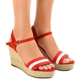 Sandales compensées espadrilles rouges 9072