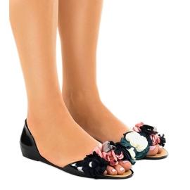 Sandales Meliski noires avec fleurs AE20