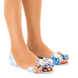 Sandales Meliski bleues avec fleurs AE20