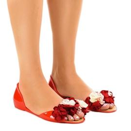 Sandales meliski rouges avec fleurs AE20