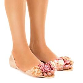 Brun Sandales meliski beiges avec fleurs AE20