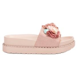 Bello Star rose Pantoufles sur plate-forme